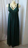 Платье атласное вечернее зеленое Bonprix р.48 6906