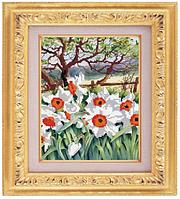 Схема для частичной вышивки бисером «Белые цветы» ВШ,248х305,Габардин,Арт.ЧБ-30 /00-02