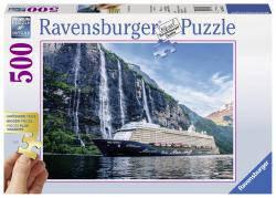 """Пазлы Ravensburger Корабль """"Mein Schiff 4"""" в фьорде 500 элементов  136476"""