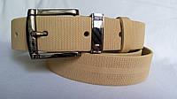 Ремень кожаный классический 35 мм песочного цвета пряжка и тренчик - чернёный комплект рисунок