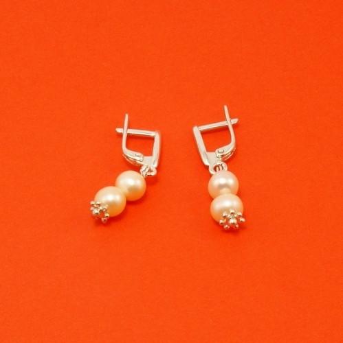 Серьги - персиковый жемчуг, серебро