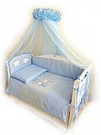 Детское постельное белье голубого цвета Twins Evolution А-003, 8 эл.