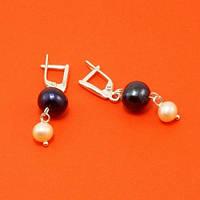 Серьги - черный, персиковый жемчуг, серебро