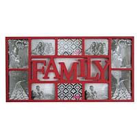 "Фоторамка на 10 фото ""Family"" красная Феникс"
