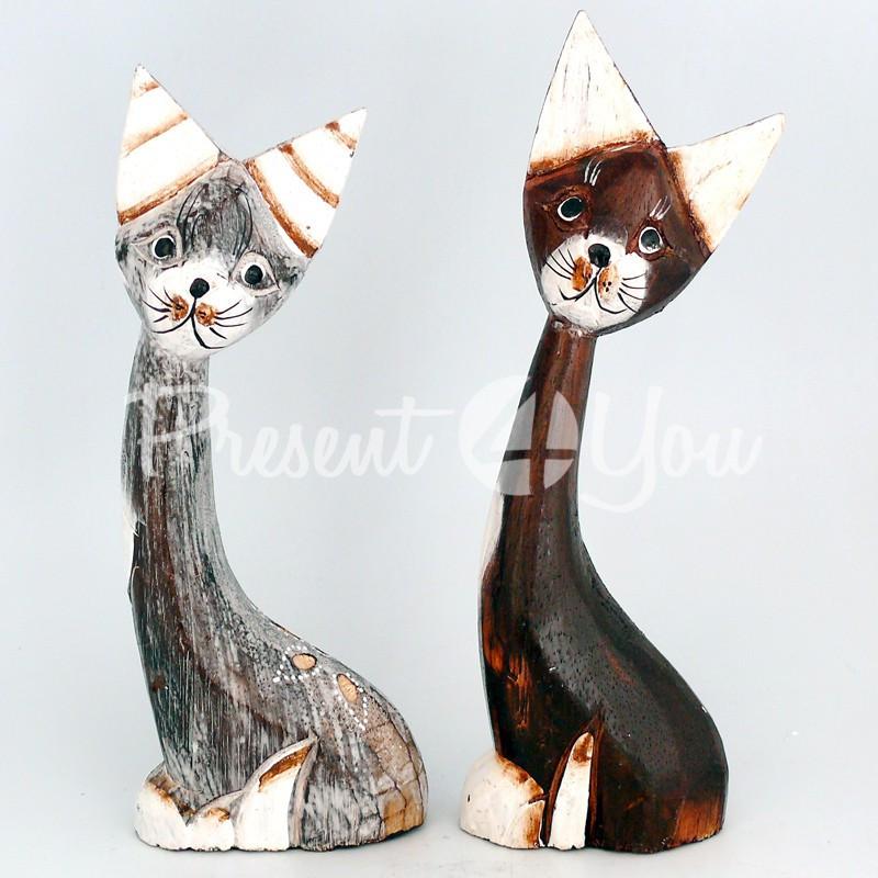 Деревянная статуэтка «Кот», h-23 см.