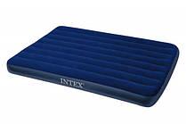 Матрац велюровий надувний Intex 68758 синій, 137-191-22см