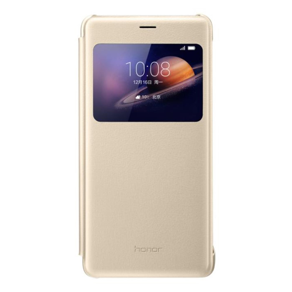Чехол книжка Кожа Huawei Smart View Window для Huawei Honor V8 золотой