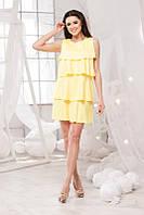 Летнее жёлтое платье свободного кроя. Арт-5698/57
