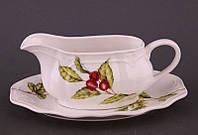 """Соусник керамический с ручкой на подставке 300 мл. 16х7 см. """"Лесная ягода"""" белый"""