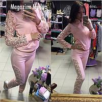 Костюм женский с кружевом кофта и брюки разные цвета SKm63