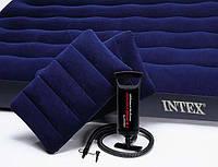 Матрац велюровий надувний Intex 68765 синій, 203-152-22 см, подушки 2 шт. -47-31 см, насос