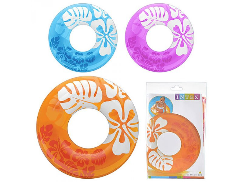 Надувной круг детский цветной 91 см, Intex