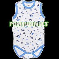 Детский боди-майка р. 80 ткань КУЛИР-ПИНЬЕ 100% тонкий хлопок ТМ ПаМаЯ 3134 Голубой