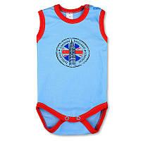Детский боди-майка London р. 74 ткань КУЛИР-ПИНЬЕ 100% тонкий хлопок ТМ ПаМаМа 3133 Голубой
