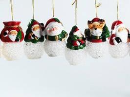Колокольчик Новогодний / Керамика / Набор 12 шт / Одинарный / Дед мороз, Снеговик / Фонарик / 12 видов 9x5x5 см