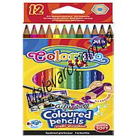 Карандаши акварельные шестигранные + кисточка для рисования, 12 цветов