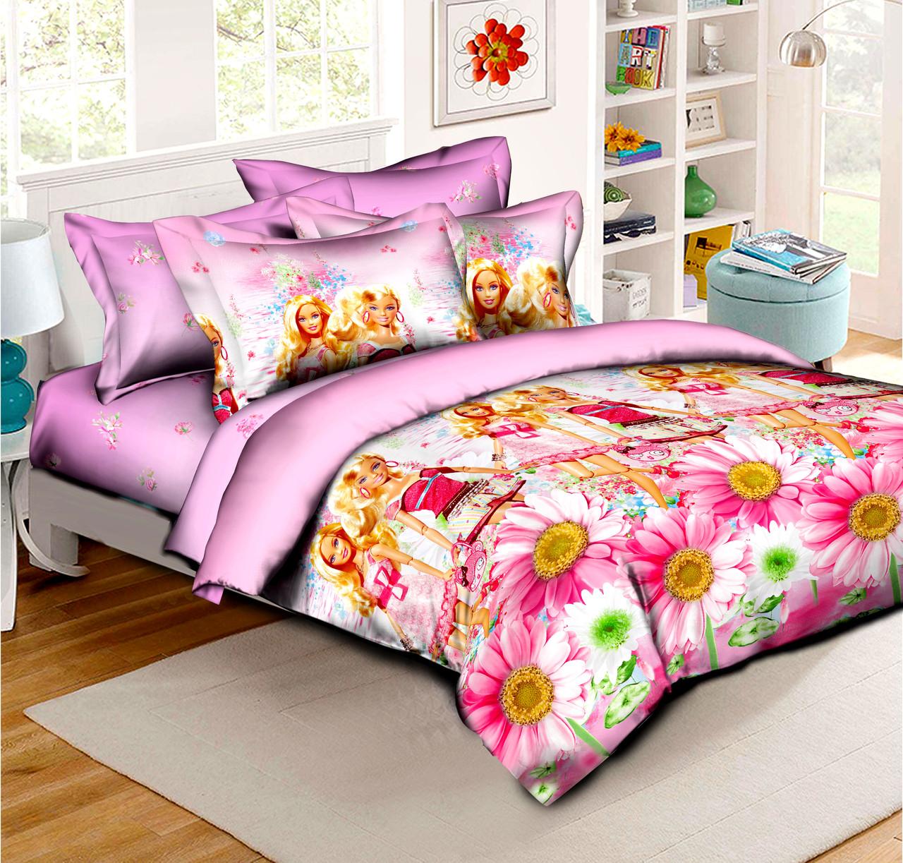 Полуторный детский комплект постельного белья Барби