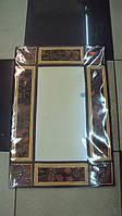 Декоративное зеркало настенное деревянное Ткань размер 60*40