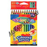 Карандаши  цветные + точилка, в пластиковом контейнере, 12 цветов+1 золото,серебро (2 в 1)