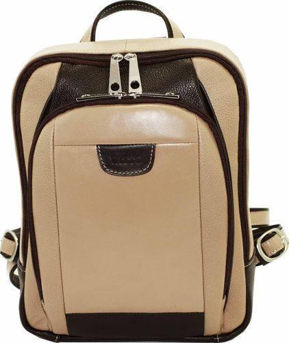 Компактный женский городской рюкзак из натуральной кожи 6 л VATTO Wk47 Fl5.3N3Kaz400, беж с коричневым