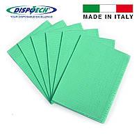 Нагрудники (Салфетки) зеленые 3-х слойные водонепроницаемые 500шт Dispotech (Италия)