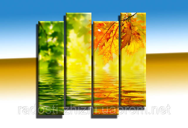"""Модульная картина """"Green with yellow (вертикальная)"""". УФ печать. Фотокартина."""