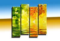 """Модульная картина """"Green with yellow (вертикальная)"""". УФ печать. Фотокартина., фото 1"""
