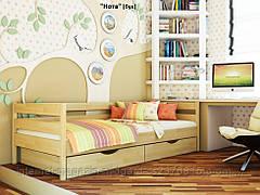 Кровать одноярусная Нота с ящиками массив дерева
