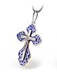Серебряный Крестик с синей эмалью и распятием, фото 6
