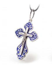 Серебряный Крестик с синей эмалью и распятием 34066