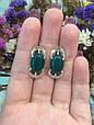 Серебряное кольцо с зеленым хризопразом и золотом 34072, фото 4