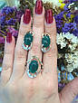 Серебряное кольцо с зеленым хризопразом и золотом 34072, фото 8