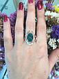 Серебряное кольцо с зеленым хризопразом и золотом 34072, фото 7
