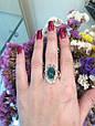 Серебряное кольцо с зеленым хризопразом и золотом 34072, фото 10