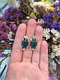 Серебряное кольцо с зеленым хризопразом и золотом 34072, фото 6