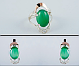 Серебряное кольцо с зеленым хризопразом и золотом 34072, фото 2