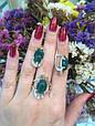 Серебряное кольцо с зеленым хризопразом и золотом 34072, фото 9