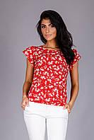 Модная блуза красного цвета в белый цветочный принт