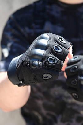 Тактические перчатки Беспалые Oakley чёрные Lux