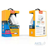 Зарядное устройство LDNio 3 USB Home Charger + Micro USB 3.4A White (DL-AC65)