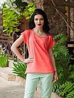 Оригинальная коралловая блуза прямого кроя