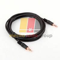 Кабель AUX Audio DC3.5 папа-папа 5.0м, GOLD Stereo Jack, (круглый) Black cable, Пакет