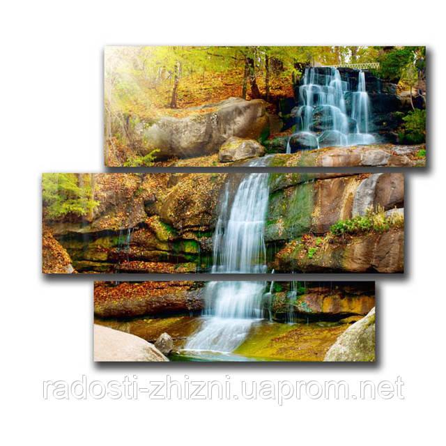 "Картина ""Водопад в лесу"" печать на холсте."