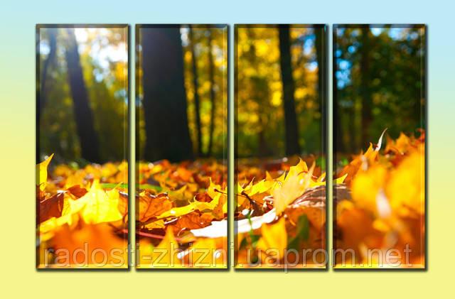 """Модульное панно """"Листья"""". Печать на холсте."""