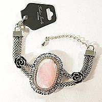 Акция  Браслет Греческий узор стразы - бусины, розы Розовый Кварц - овальный 25 мм