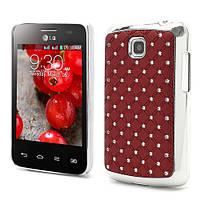 Чехол накладка Star Dust с камнями для LG Optimus L3 II E435,  бордовый пластик