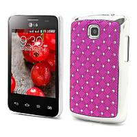 Чехол накладка Star Dust с камнями для LG Optimus L3 II E435,  малиновый пластик