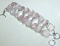 Крупный Браслет из натуральных камней - РОЗОВЫЙ КВАРЦ
