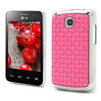 Чехол накладка Star Dust с камнями для LG Optimus L3 II E435,  розовый пластик