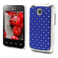 Чехол накладка Star Dust с камнями для LG Optimus L3 II E435, синий пластик